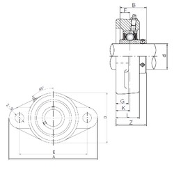 25 mm x 68 mm x 34,1 mm  ISO UCFL205 unités de roulement