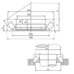 440 mm x 680 mm x 49 mm  NACHI 29388E roulements à rouleaux de poussée