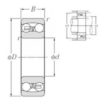 60 mm x 110 mm x 28 mm  NTN 2212S roulements à billes auto-aligneurs