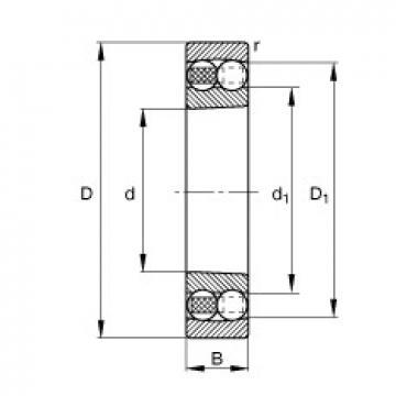 95 mm x 200 mm x 45 mm  FAG 1319-K-M-C3 roulements à billes auto-aligneurs