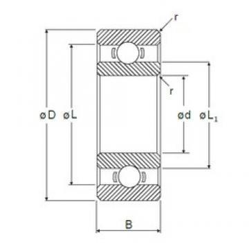 4,762 mm x 9,525 mm x 3,175 mm  NMB RI-6632 roulements rigides à billes
